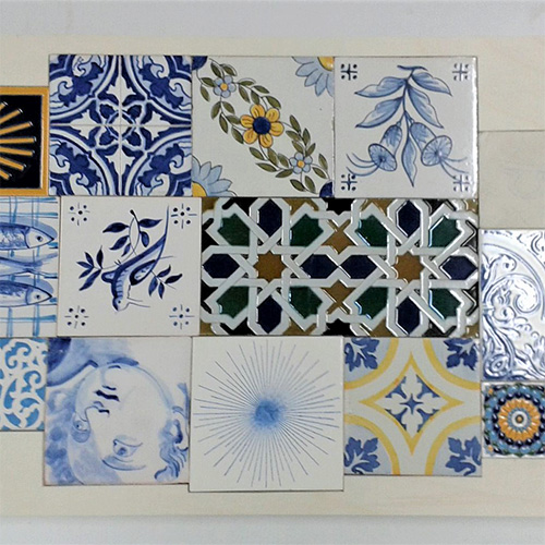 Tea table with tile design of travel souvenirs