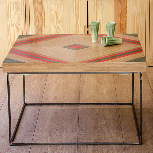 La Carlota: tables with geometric marquetry
