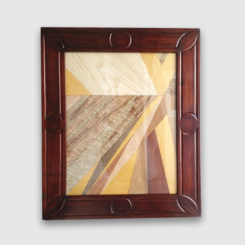 Marquetry creation with antique mahogany frame